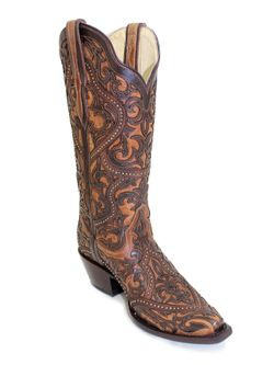 Ladies Corral Brown Full Overlay & Studded Snip Toe Boots