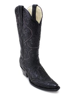 Ladies Corral Black Cut Out Overlay and Stud Boots