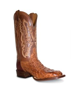 Lucchese Burnished Barnwood Square Toe Ostrich Boots