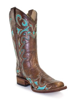 Ladies Corral Brown Turquoise Scroll Square Toe