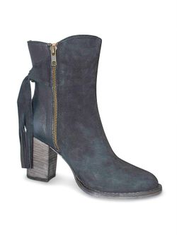 Ladies Lucchese Navy Ankle Tie Booties