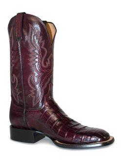 Men's Lucchese Black Cherry Caiman Belly & Smooth Ostrich