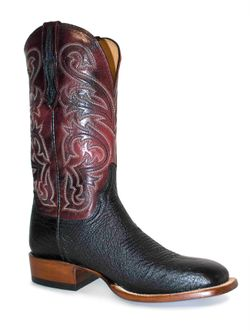 Men's Lucchese Lance Black Smooth Black Cherry Goat