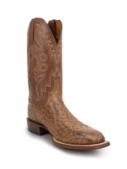 Mens Lucchese Burnished Full Quill Ostrich Square Toe