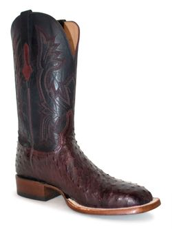Lucchese Black Cherry Full Quill Ostrich