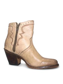 Ladies Lucchese Bone Distressed Studded Booties