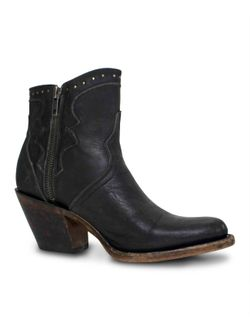 Ladies Lucchese Black Distressed Studded Booties