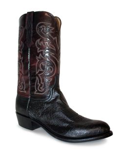 Mens Lucchese Black Smooth Ostrich