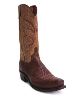 Mens Lucchese Burnished Barnwood Smooth Ostrich