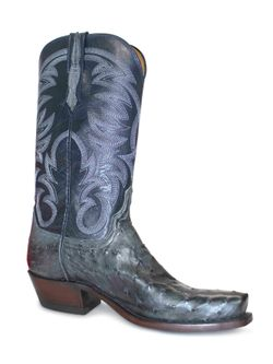 Men's Lucchese Anthracite Gray Full Quill Ostrich