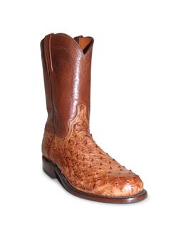 Mens Lucchese Burnished Barnwood Ostrich Roper