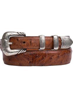 Lucchese Barnwood Pin Ostrich Belt