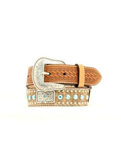 Kids Hair on Hide with Blue Studs Belt