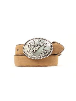 Kids 1 1/4 Tan Belt with Floral Buckle