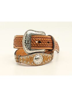 Hair on Hide Belt with Floral Concho's