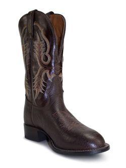 Tony Lama Chocolate Bison Shoulder Cowboy Boots