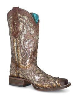 Ladies Corral Glittered Inlay Square Toe