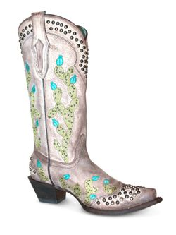 Ladies Corral Tobac Nopal Embroidery and Studs