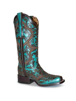 Ladies Corral Square Toe Turquoise & Brown Laser Studs
