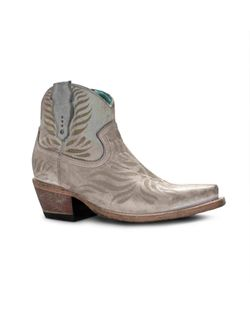 Ladies Corral White Laser Engraved Ankle Boots