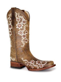 Corral Tan Floral Embroidery Square Toe