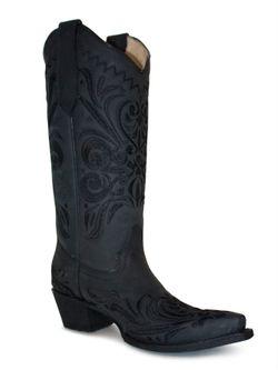 Ladies Corral Black Filigree Boots
