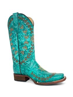 Ladies Corral Turquoise Embroidered Square Toe