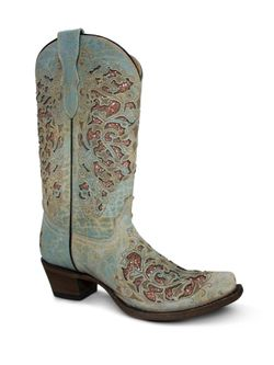 Girls Corral Turquoise and Pink Glitter Inlay