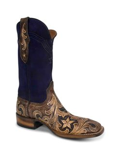 Mens Black Jack Hand Tooled Vintage Chocolate Cowboy Boots with Suede Navy Blue Tops