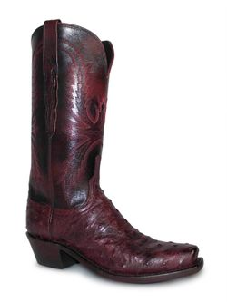 Ladies Lucchese Black Cherry Full Quill Ostrich