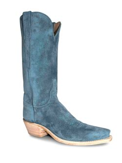 Ladies Lucchese Turquoise Suede Boots