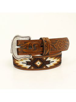 Western Black and Brown Beaded Belt
