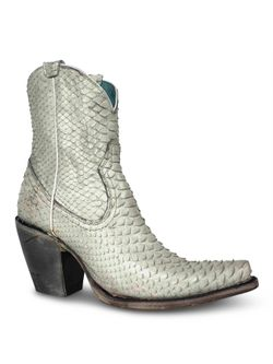 Ladies Corral White Python Booties