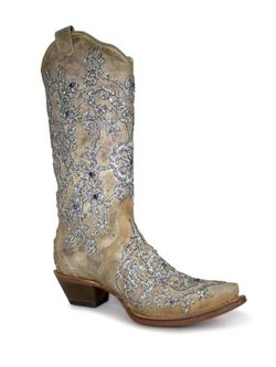 Ladies Corral Bone Overlay Embroidered Crystals