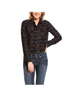 Ladies Ariat Real Rustic Black Multi Long Sleeve Shirt