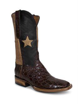Men's Black Jack Lone Star Giant Gator Cowboy Boots