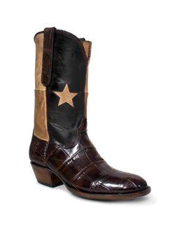 Men's Black Jack Lone Star Gator Round Toe Boots