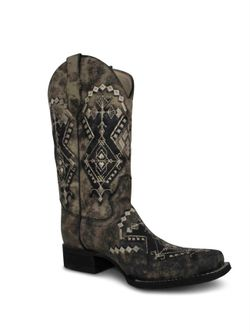 Ladies Corral Sandy Embroidery Square Toe