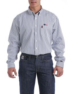 Men's Cinch FR Blue Stripe Long Sleeve