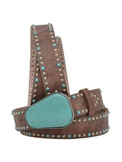 Ladies 3D Belts Brown Silver And Turquoise Stud