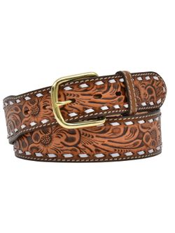 Men's Floral Embroidered with White Outline Belt