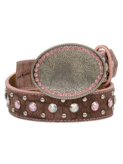 Girls Silver & Pink Belt