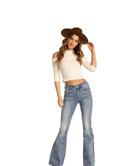 Ladies Panhandle Slim Medium Wash Flare Jean