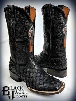Men's Black Jack Locked & Loaded Black Matte Arapaima Cowboy Boots