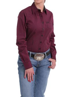 Ladies Womens Stripe Long Sleeve Shirt