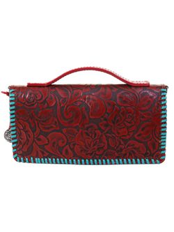 Folding Clutch Turquoise And Red