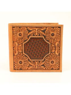 Brown Floral Tooled Wallet