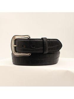 Men's Solid Black Leather Crocodile Overlay