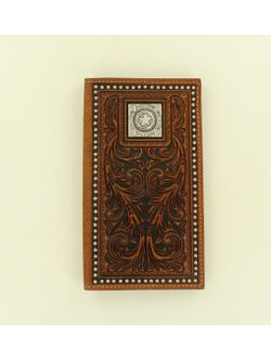 Men's Western Beaded Tooled with Concho Wallet
