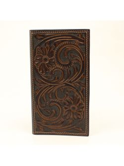 Men's Dark Chocolate Floral Tooled Wallet